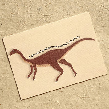 Dinosaur greeting card, gorgeous hand-illustrated gallimimus card designed for dinosaur loving kids & adults alike, totally jurassic card