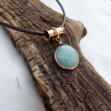 Amazonite and Copper Necklace, Copper and Amazonite Pendant, Quartz Pendant, Amoazonite Necklace, Copper Necklace