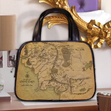 Map of Middle Earth Realm Land LOTR Women's Classic Carrier Purse Leather Handbag