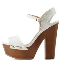 White Textured Chunky Wooden Platform Heels by Charlotte Russe