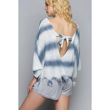 Lightweight Tie Dye Sweater with Back Tie - White/Blue