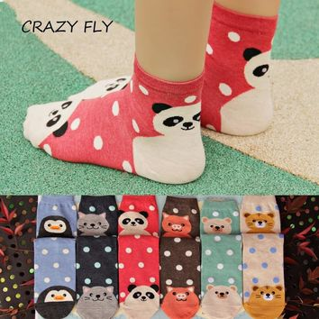 CRAZY FLY 2017 3D Animals Striped Cartoon Socks Women Footprints Cotton Socks Floor Harajuku Lovely Art Socks Animal Socks