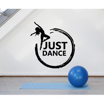 Vinyl Wall Decal Lettering Just Dance Club Studio Dancing Girl Stickers Mural (g2998)