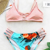 Cupshe Orange Soda Print Bikini Set