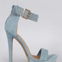 Women's Shoe Republic LA Denim Ankle Strap Stiletto Heel