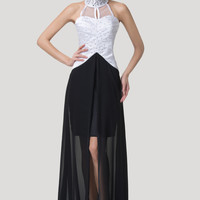 Black And White Halter Mesh Turtle Neck Beaded Front Slit Chiffon Maxi Dress