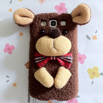 New Chic Cute Brown Plush Wool Teddy Bear With Bow Furry Samsung Galaxy Phone Case