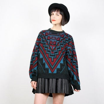 Vintage 80s Sweater Southwestern Knit Black Teal Red Aztec Print Geometric Knit Pullover Navajo Jumper New Wave Cosby Sweater M L Large