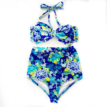 FLEUR - Blue Floral Print Bow Bandeau & High Waist Bikini!!! Limited Edition