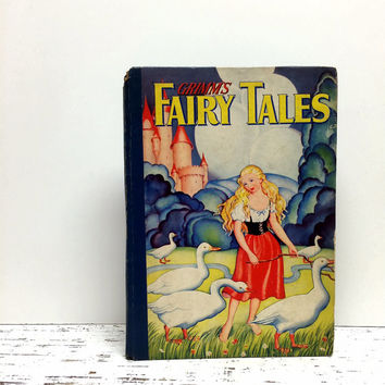 1930s, Grimms Fairy Tales, Fairy Tale Book, Fairytale Book, Home Staging, Princess, Antique Fairy Tale Book ,Old Book, Photo Prop, Ephemera