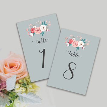 "PRINTABLE Wedding Table Numbers 1-20 / Pastel Wedding / Shabby Chic / Modern Wedding  / the ""Olivia"" / INSTANT DOWNLOAD"