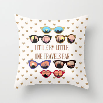 Little by little, one travels far Throw Pillow by Sara Eshak