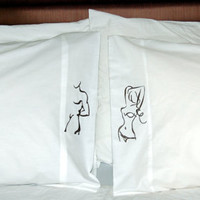 pillow cases, His and Hers BEDROOM SET, man-woman, embroidered pillows, unique pillows, love pillows