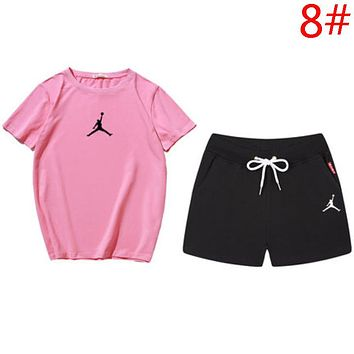 Jordan Summer New Fashion People Print High Quality Top And Shorts Two Piece Suit Women