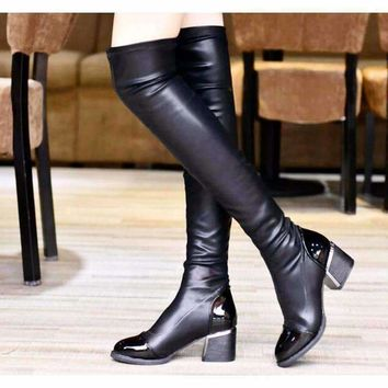 Black Leather Pointed Toe Women Knee Hight Boots