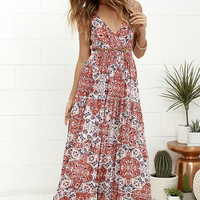Raga Atacama Desert Coral Red Print Maxi Dress