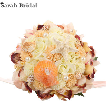 Customized Beach Wedding Bouquet With 18 Pieces Shells Peals Beach Wedding Flowers Bridal Bouquet buque casamento WF054CH-OC