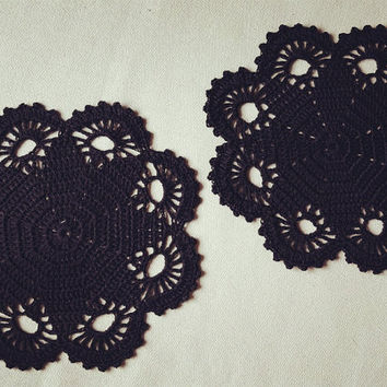 Gothic Black Crochet   table Doilies Placemats 8.3 inches( 21cm)