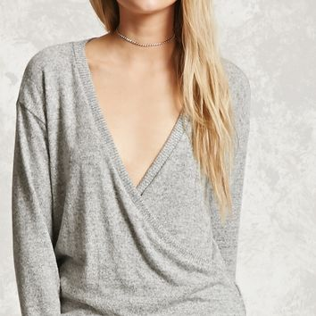 Fleece Marled Surplice Top