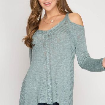 Signs of Spring Cold-Shoulder Sweater (Sage Green)