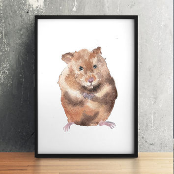 Hamster poster Cute nursery decor Watercolor art print ACW176