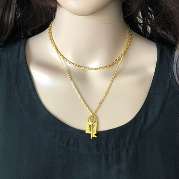 Gold Key and Lock Layered Necklace