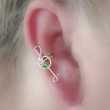 NEW Treble Clef STERLING Ear Cuff W/ Crystal/Choice of Colors Non Pierced