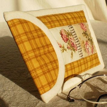 Eyeglass Case - Quilted Cozy Brown With Mustard Checks and Red, Pink Roses and Flowers