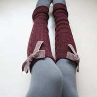 Wine Burgundy Leg warmer Tights layering Knit Boot cuffs Holiday Winter Cozy Chunky Gift