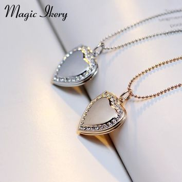 Magic Ikery Photo memory floating locket Necklace Rose Gold Color Heart Flash Box fashion necklaces for women 2016 MKA63