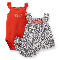"""Carter's Girls 3 Piece """"Absolutely Perfect"""" Sleeveless Bodysuit, Leopard Print Tunic Top and Ruffle Diaper Cover Set"""