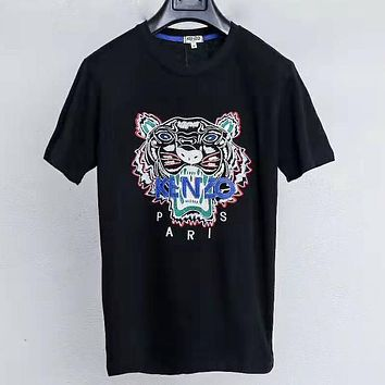 Kenzo Tide brand half sleeve men and women classic tiger embroidery logo T-shirt Black