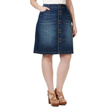 INC Womens Plus Denim Regular Fit Denim Skirt