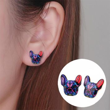 Shuangshuo 2017 New Fashion Colorful Animal Stud Earrings French Bulldog Earrings Puppy Dog Stud Earrings for Women OED046