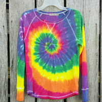 Large Tie Dye Thermal,  Women's Large ( 12/14), Rainbow Spiral
