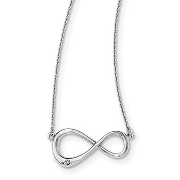 Sterling Silver White Ice Diamond Infinity Pendant Necklace