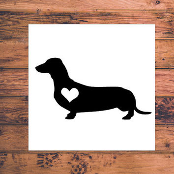 Dachshund Heart Decal | Dachshund Mom Decal | Dog Mom Decal | Dog Dad Decal | Dog Family Decal | Love Sticker | Love Decal | 198