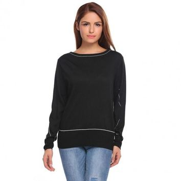Contrast Color Slouchy Long Sleeve Pullover Sweaters