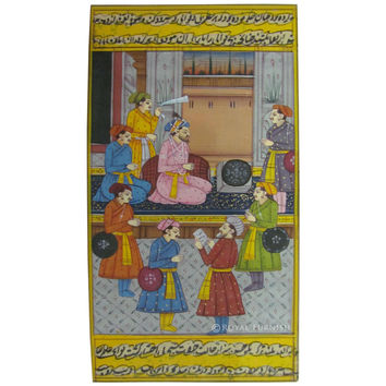 Wall Decorative Mughal Court Scene Rajasthani Miniature Painting