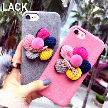 LACK Luxury Colorful DIY Floral Winter Fuzzy Case For iphone 6 Case For iphone 6S 7 7 PLus Cute Cartoon Flower Phone Cases Cover