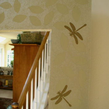 Hand Painted Mirror Frame, Beige with Dragonfly Motif  - custom sizes available