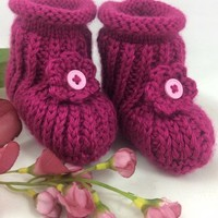 Baby Booties 6-12 mo Fuchsia Flower Pink Button Caron Simply Soft