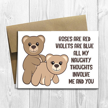 PRINTED Naughty Thoughts Cute Teddy Bears  5x7 Greeting Card - Valentine Notecard