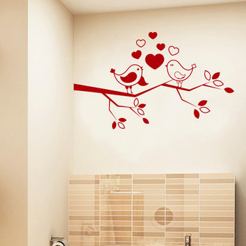Wall Decal Birds on a Branch Tree Hearts Love Animal Design Wall Decals Bedroom Living Kids Room Nursery Vinyl Sticker Home Decor Mural 3832
