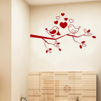 wall decal birds on a branch tree hearts from decalsfromdavid on