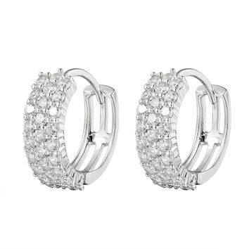 Silver 3 Row Solitaire Small Hoop Earrings