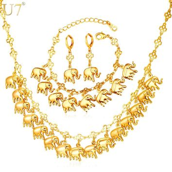 U7 Brand Elephant Cute Charm Bracelet Earring & Necklace Set Lucky Animal Gold Color Jewelry Set For Women Gift S849