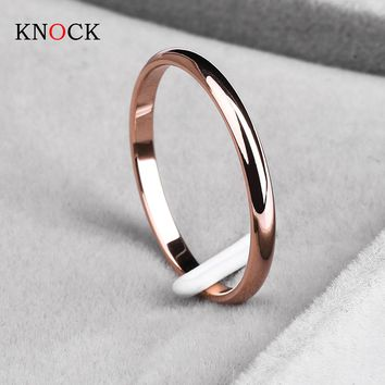 Titanium Steel Rose Gold Anti-allergy Smooth Simple Wedding Bands Rings Couples Bijouterie Man or Woman Gift (FREE SHIPPING TO USA)
