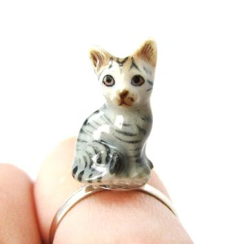 Miniature Grey and Black Striped Kitty Cat Porcelain Ceramic Animal Adjustable Ring | Handmade