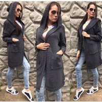 Black Plain Pockets Hooded Casual Cardigan Sweater